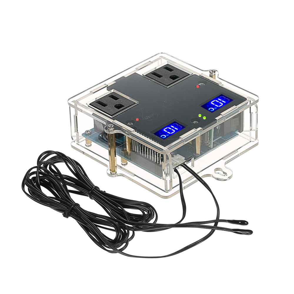 цена на Digital Temperature Controller Thermostat for Aquaculture with Case and Dual Channel Control / Waterproof Sensor Probe