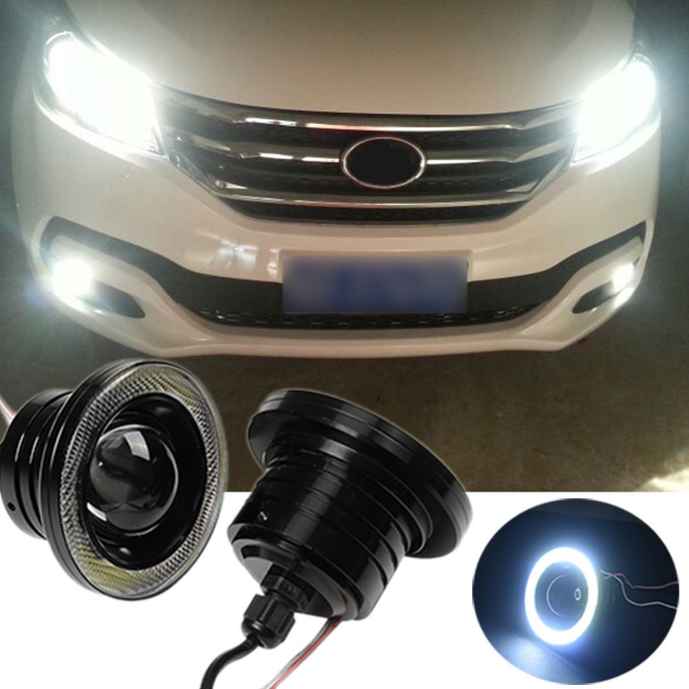 2pcs/lot 3.5inch 89mm 30W Halo Fog Lamp LED COB Angel Eyes Foglight Super White 1200Lm Daytime Running Light Car DRL merdia 10w 700lm 6000k cob eagle eyes white light foglight for motorcycle