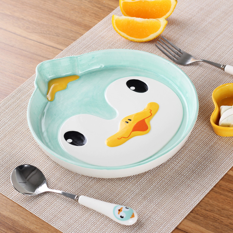 4pcs/set Cartoon Ceramic Dish Plate Saucer Spoon Fork Dinnerware Set Totoro Owl Cat Childrenu0027s Flatware Food Container Tableware-in Dishes u0026 Plates from ... & 4pcs/set Cartoon Ceramic Dish Plate Saucer Spoon Fork Dinnerware Set ...