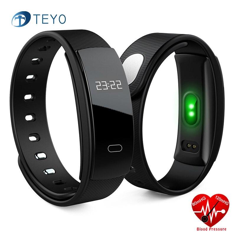 Teyo Smart Bracelet QS80 Heart Rate Monitor Blood Pressure Pulsometer Pedometer Pulseira Iteligente Smartband for IOS