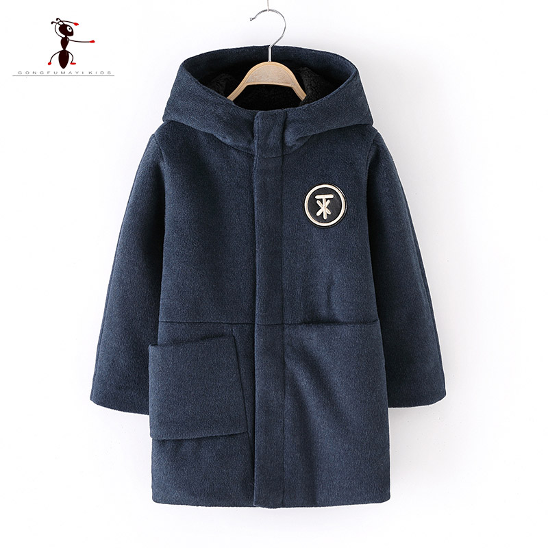 2018 Hooded Big Pocket Wool Coat for Boys Children's Clothing Boy Clothes Manteau Enfant Laine Students Home Thick Jacket 9026
