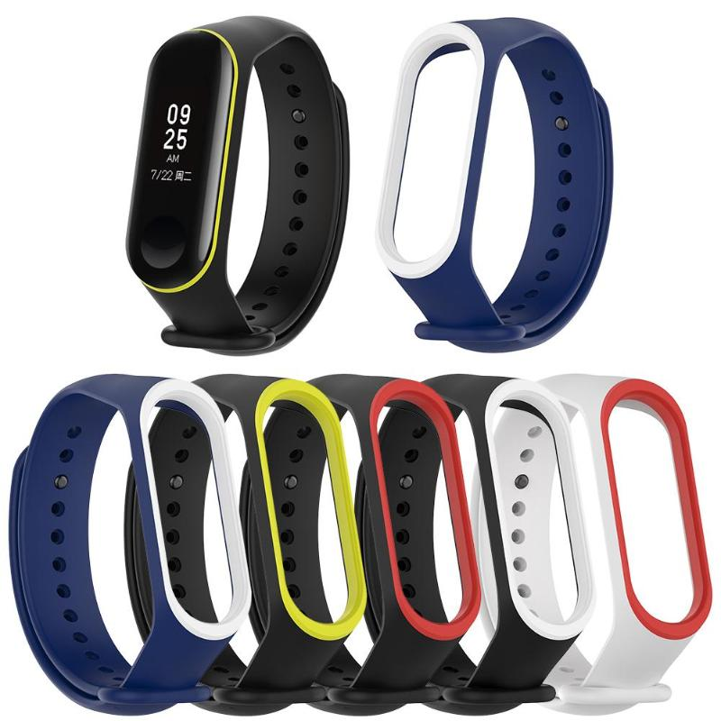 VODOOL Silicone Dual Color Wristband Bracelet Watch Strap For xiaomi mi band 3 4 bracelet Miband 4 3 Strap Sleek strap 2019 new in Smart Accessories from Consumer Electronics