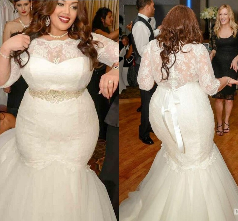 Wedding Dresses 2016 New O Neck Lace Three Quarter Sleeves Crystal Belt Plus Size Robe De Mariage Long Sheer Gowns In From