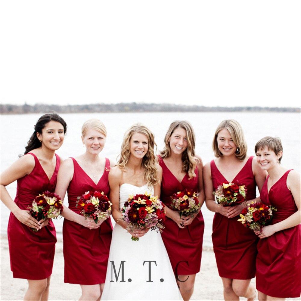 2019 Dark Red Short   Bridesmaid     Dresses   Sheath V Neck Pleat Satin Cheap Wedding Party Gowns Custom Made Maid Of Honor   Dress