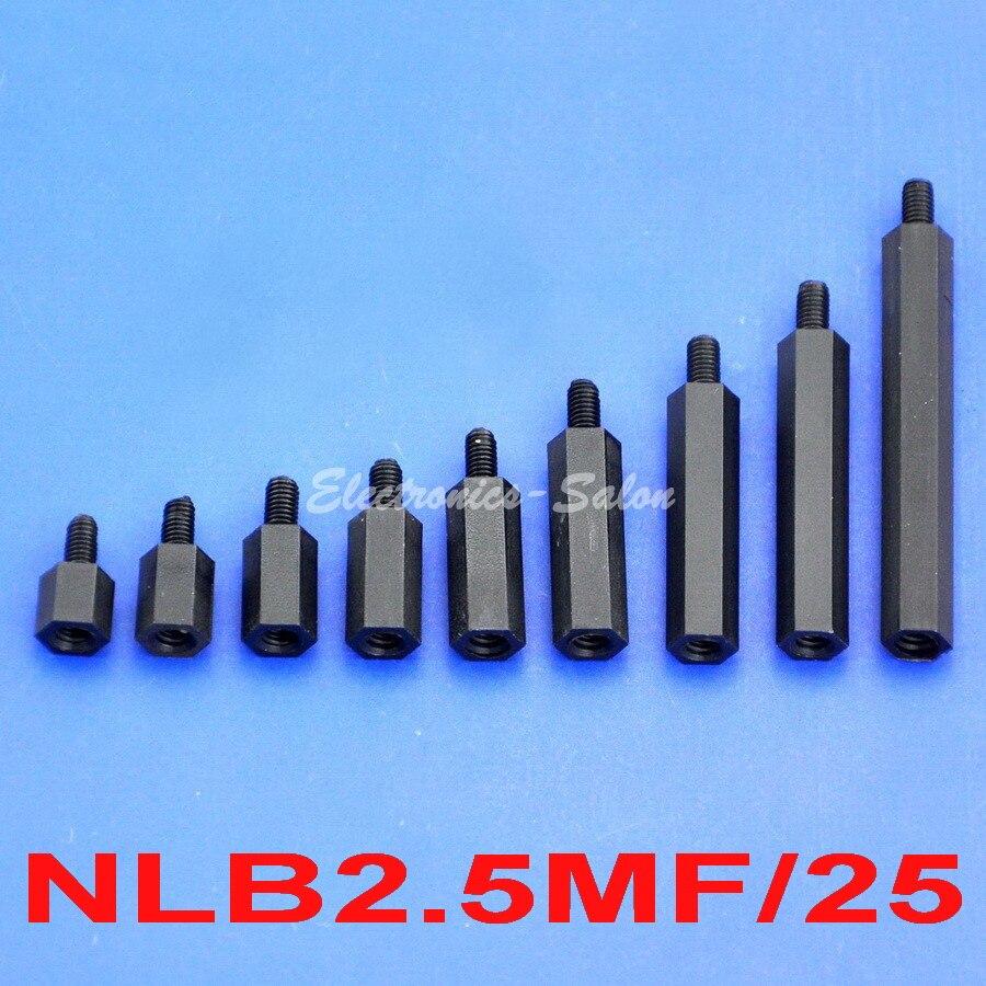 10mm 25 Pcs Nylon Standoff Spacer M2.5 Male x M2.5 Female