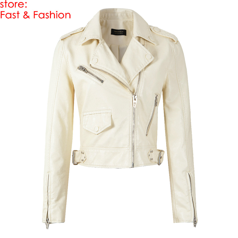 2019 New Women Spring Autumn Motorcycle Soft Faux   Leather   Jackets Lady Beige Long Sleeve Rivet Biker PU Zipper Streetwear Coats