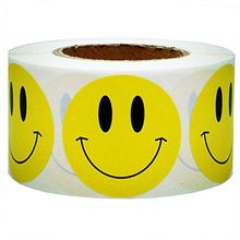 Yellow Smiley Happy Sticker 2 inch Circle Teacher Label 500 Face Custom Office Decorate any Item