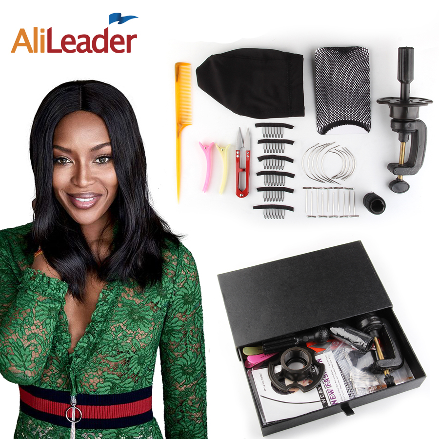 Alileader 10 pz/set Parrucca Fare Kit di Strumenti Parrucca Accessori Protezione della Parrucca di Capelli Net Supporto della Testina di T Spilli Curvo Tessitura Ago capelli Filo