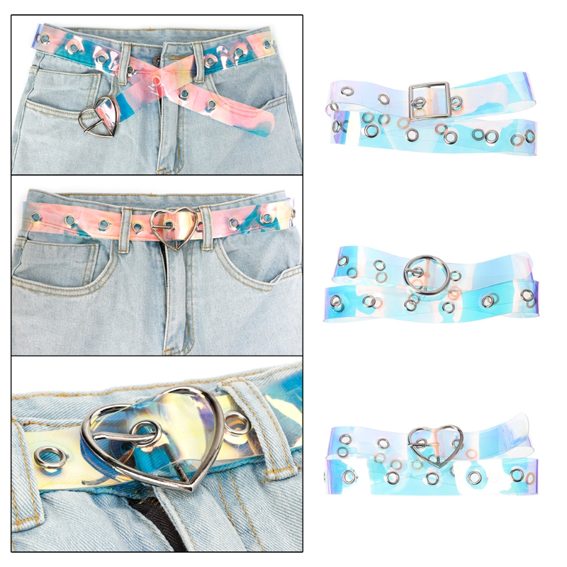 Women Waist Belt Laser Metal Buckle Casual Decoration Pin Transparent Fashion Lady Girls Waistband