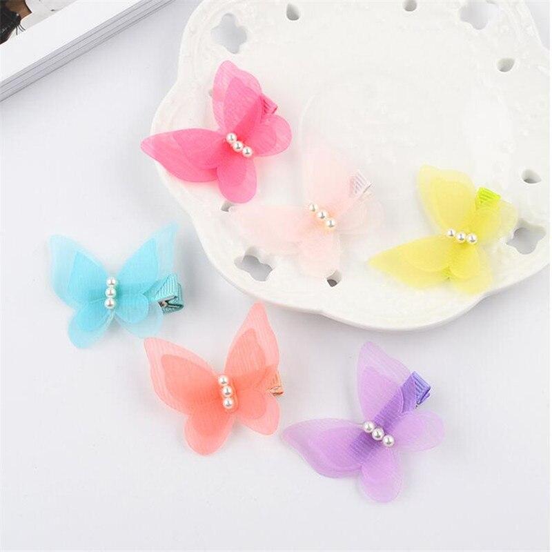 4Pcs/Lot Girls Hair Accessories Cute Butterfly Hairpin Chiffon Hairpins Kids Barrette Flower Clip Bow Pearl Hairgrip Hairclip