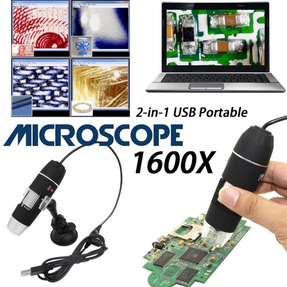 Mega píxeles 1600X8 LED Digital Microscopio USB de la cámara del endoscopio Microscopio Lupa Electrónica estéreo pinzas aumento