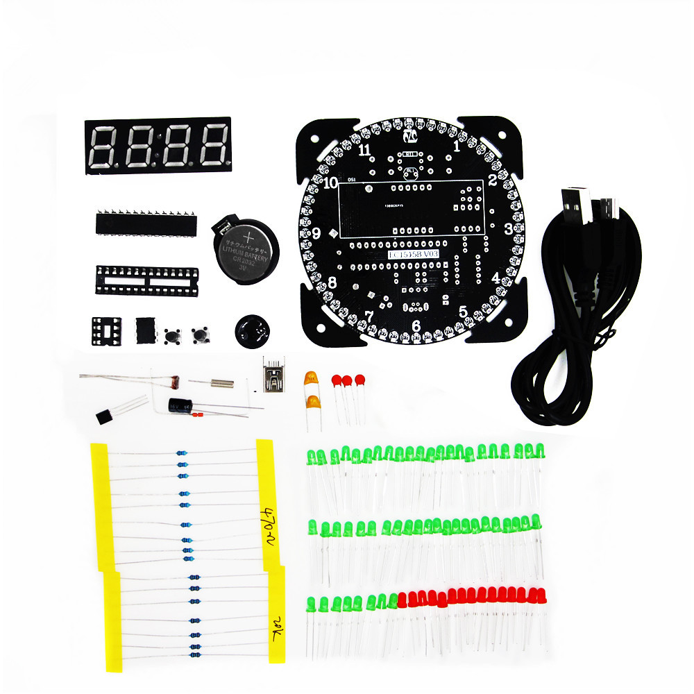 Rotating DS1302 Digital LED Display Module Alarm Electronic Digital Clock LED Temperature Display DIY Kit Learning Board 5V ds1302 ds1302zn sop8