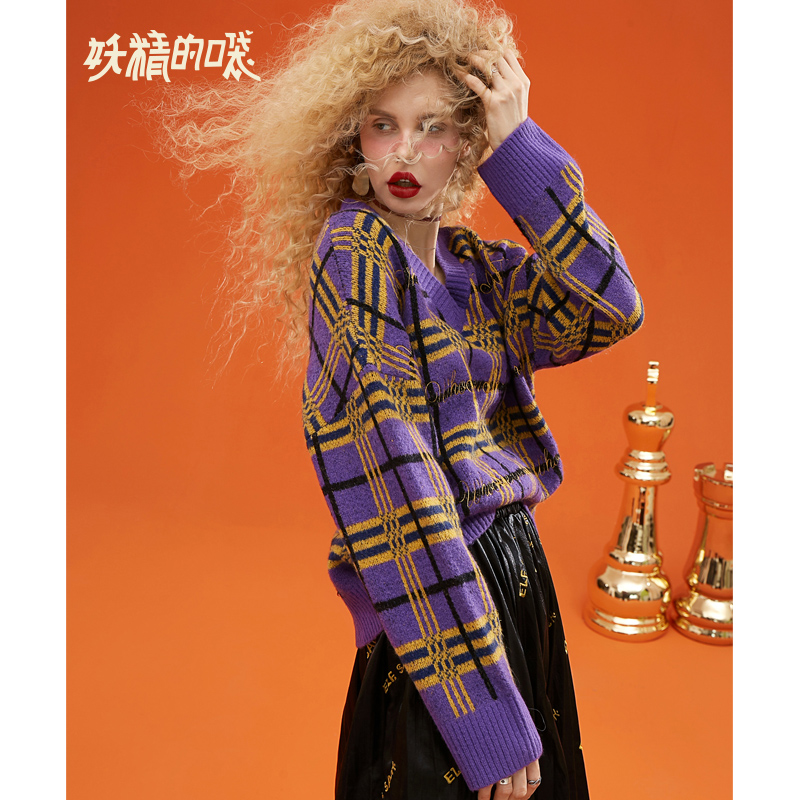 ELF SACK Stylish Plaid Oversize Chic Sweater 18402080