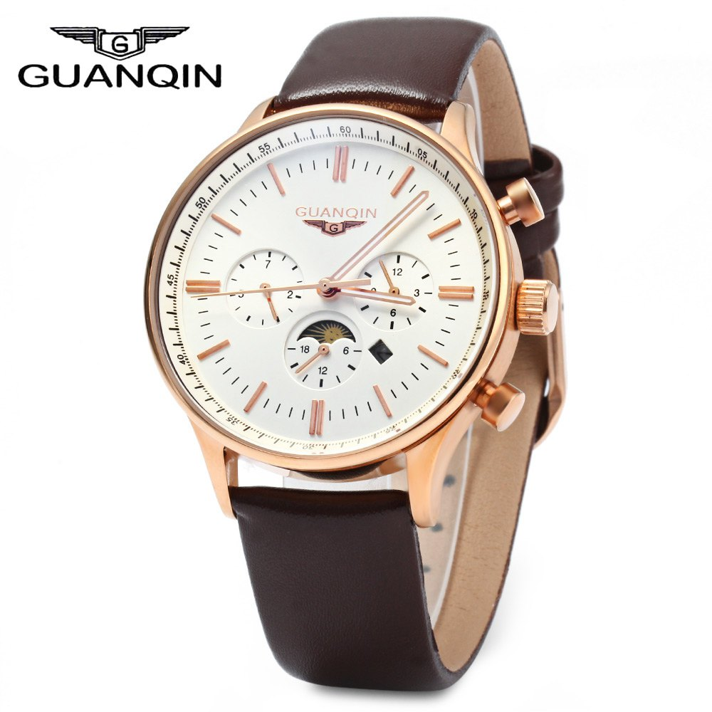 GUANQIN Men Leather Quartz Watch with Calendar Display Moving Three Sub dials