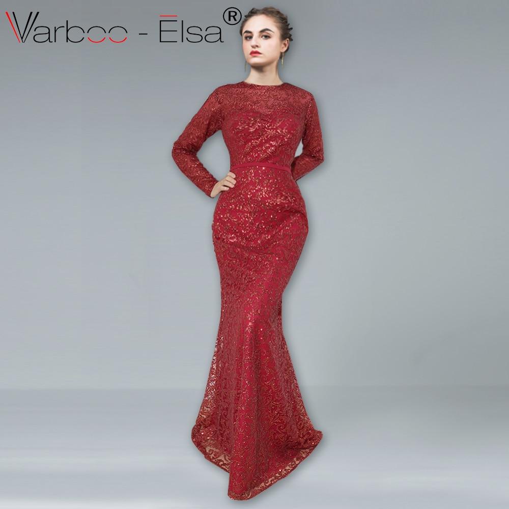 b70b3053f VARBOO_ELSA Luxo Glitter Sereia do Assoalho comprimento Vestido de Baile  Elegante Vestido De Manga Longa Vinho Vermelho Brilhante Vestido de Noite  robe de ...