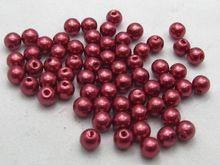 500 шт. 6 мм Пластиковые искусственного жемчуга круглые бусины бордовый с искусственным жемчугом декоративные аксессуары