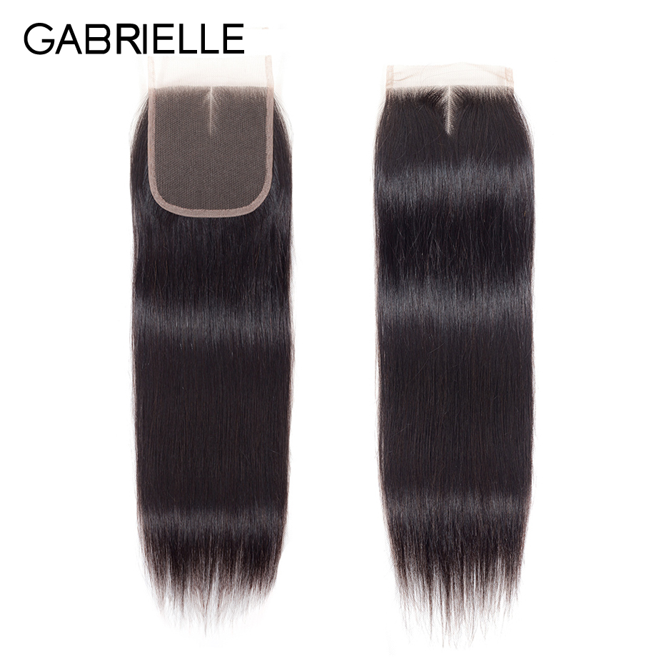 Gabrielle Lace Closure Human-Hair Swiss Straight Peruvian Non Free/middle/three-part