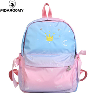 Girls Embroidery Crown School Backpack Gradient Pink Personality Nylon Travel Bag Personality Bow Large Capacity Student Bookbag
