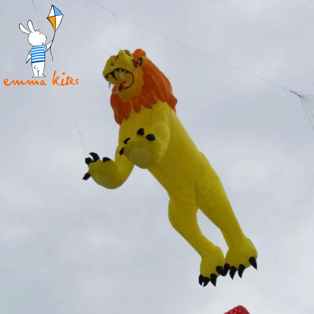 Ripstop Nylon cerf-volant 5 m Lion forme gonflable doux cerf-volant ligne blanchisserie pour spectacle activité de plein air