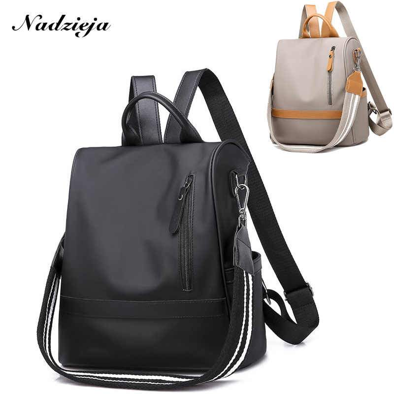 Fashion Women Backpack Purse Nylon Anti-theft Bags Waterproof Convertible Rucksack Lightweight School Shoulder Bag