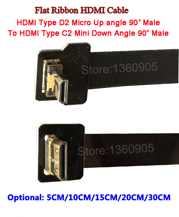 5/10/15/20/30CM Ultra Thin HDMI Flat Ribbon Wire Up Angle 90 Degree Mini C2 To D2 Micro Down Angle 90 Degree Flexible Cable FPV