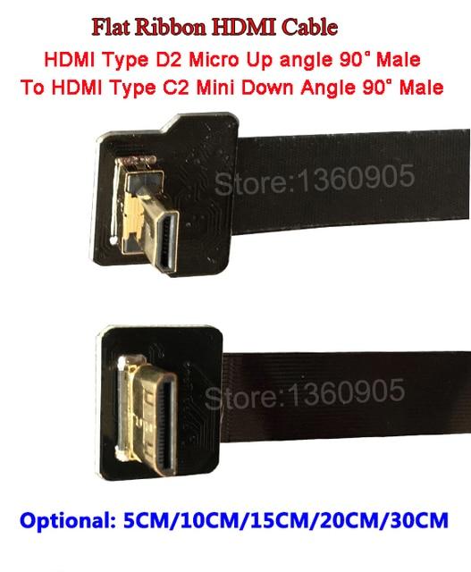 5/10/15/20/30CM Ultra Thin HDMI Flat Ribbon Wire Up Angle 90 degree ...