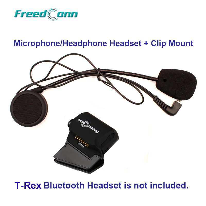 FreedConn T-Rex Hard Wire Microphone & Speaker + Universal Clamp Mount For T-Rex Motorcycle Bluetooth Helmet Interphone Headset