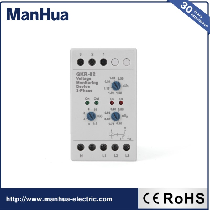 ManHua Hot Product Online Shopping GKR-02 Voltage Monitoring Device Relay AC Protective Voltage Relay Low Power 3 Phase Sealed vj5 lcd display phase failure sequence unbalance protective relay 3 phase and voltage relay