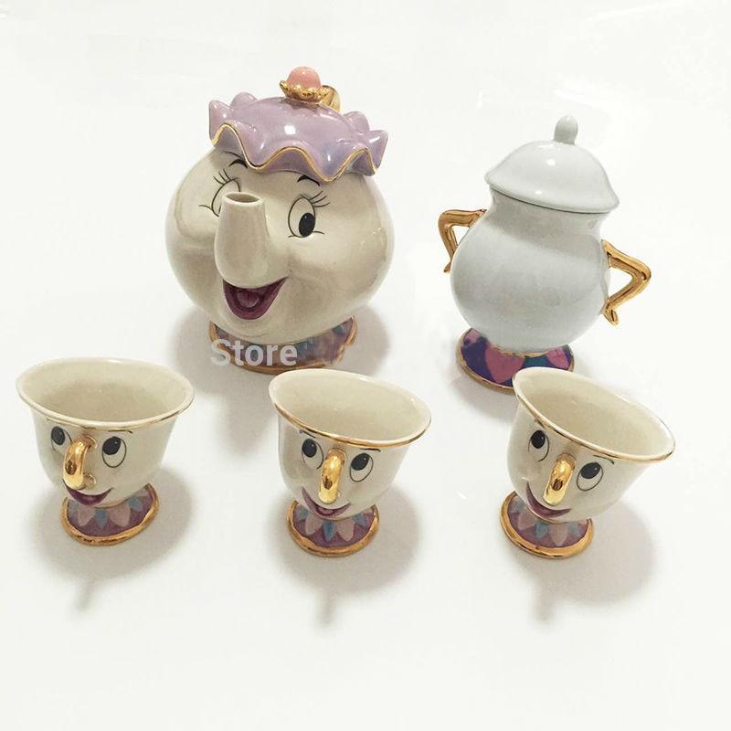 만화 아름다움과 야수 차 세트 부인 potts 주전자 칩 컵 설탕 그릇 냄비 세트 커피 주전자 친구를위한 크리스마스 선물