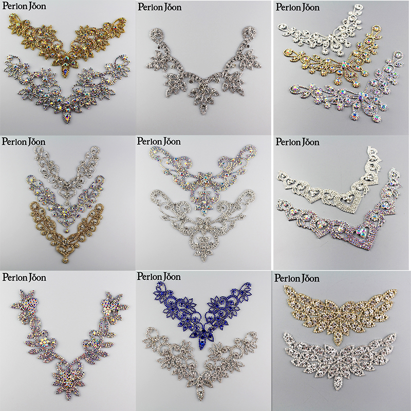 10PCS Crystal collar Ab Rhinestone necklace Welding patch sew on adornment for Wedding Dress Skirt Flashing
