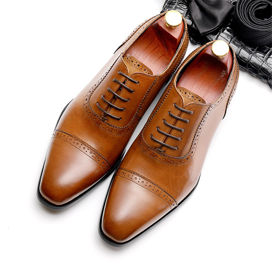 Genuine cow leather brogue shoes mens casual flats shoes vintage handmade sneaker oxford shoes for men