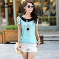 Plus Size M-5xl Lady Blouses & Shirts New Summer Style Casual Dress Fashion Tees Woman Tops Sexy Gauze Lace Cotton Female shirts