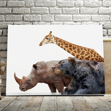 Elephant Giraffe Bear Tiger Animals Wall Art Canvas Painting Nordic Posters And Prints Pictures For Living Room Home Decor