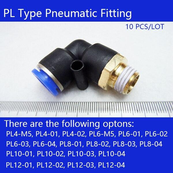 Free shipping 10 Pcs L Shaped Pneumatic Fitting PL6-02 PL6-01 PL6-M5 PL8-01 PL8-02 PL10-02 PL4-01 PL4-M5Pneumatic connectors