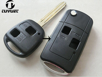 Modified Flip Key Shell 2 Buttons For Toyota FJ Land Cruiser Camry Previa Prado Ville Fob Case Remote Control Key Cover dandkey 2 buttons remote key fob shell uncut blade key case replacement cover for toyota yaris with rubber pad