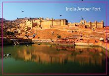Rettangolo Rigida Magneti, India Jaipur Amber Fort Scenario Tourist Rettangolo Metallo Fridge Magnet 5385