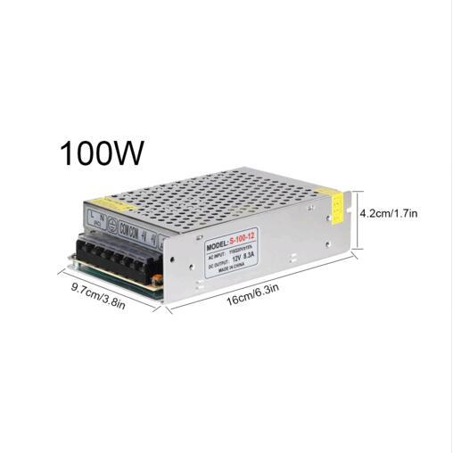 12V 8.3A 100W 110V-220V Lighting Transformers adapter highquality safe Driver for LED strip 5050 5730 power supply,free shipping