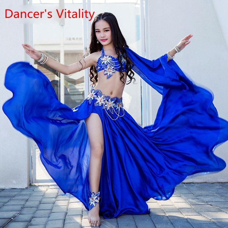 Children Girls Belly Dance Indian Oriental Dance Performance Costume 2019 New Slap-up Pure Silk Satin Bra Long Skirt Belt Set