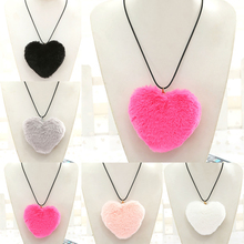 New Love Heart Faux Fur Necklace Pendants Women,Boho Fur Pom Pom Neckalce 2017 Neck Collier Costume Jewelry
