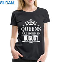 Summer Sleeves Gildan Women'S O-Neck 100% Cotton Short Sleeve Queens Are Born In August Tee