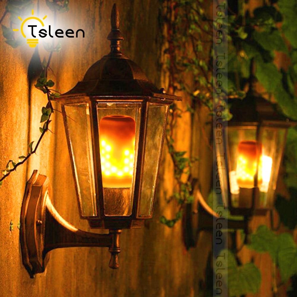 TSLEEN 8Pcs Simulation Flickering Flame Fire LED Corn Bulb E27 85-265V Castle Style B22 E26 Lantern Lights 3528 SMD Burning Lamp