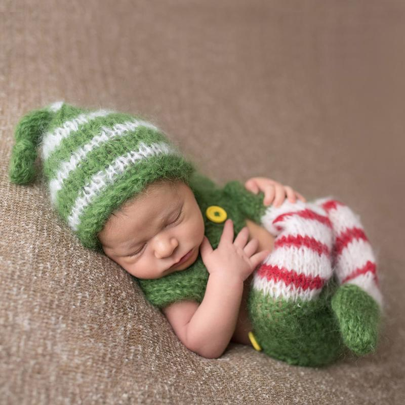 Christmas Baby Photography Props Newborn Girls Boys 2pcs Infants Baby Costume Photography Prop Crochet Bind Foot Bib Pants +Hat newborn crochet firemen photography prop costume set