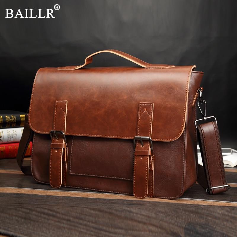 2018 New Fashion Crazy Horse PU Leather Retro casual Men's Handbag British Postman Briefcase Shoulder Bag Messenger bag laptop
