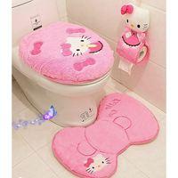 4 pçs/set hello kitty rosa dos desenhos animados macio banheiro tampa do assento do toalete capa tapete de banho titular almofada do assento anéis toalete conjunto|toilet set|toilet seat lidtoilet seat lid cover -