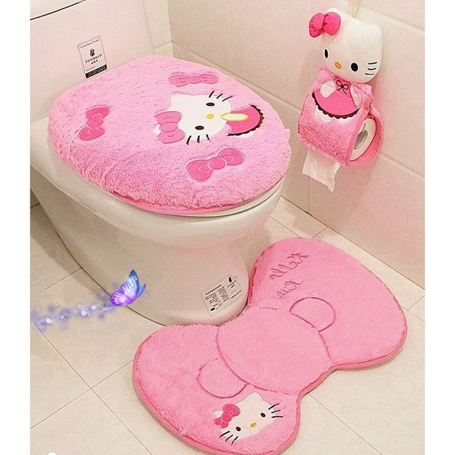 ad106f79a 4PCS/SET Hello Kitty Pink Cartoon Soft Bathroom Toilet Seat Lid Cover Bath  Mat Holder Carpet Seat Cushion Rings Toilet Set