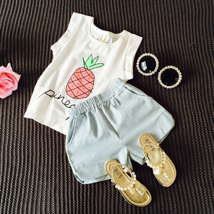 EMS DHL Free 2016 NEW Baby girls pineapple 2pc Suit cotton tops + Pants Infants outfits Summer Style Casual Suit 3 Colors dhl ems 1pc new sick vs ve18 3e3940