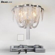 Vintage Aluminum Chain Light Chandelier Lustres Lamp Post Illumination Hanging Lighting for Living room Foyer MD86203