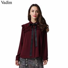 Vadim women sweet ruffled chiffon shirts bow tie neck transparent pleated long sleeve cute blouse casual chic tops blusas LT2453(China)