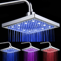 8-inch Temperature Control 3-Color Changing LED Light Square Shaped Water Shower Head Shower Faucet Nozzle Lighting Lamp