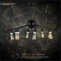 Тяжелая черная железная люстра лампа четыре люстры металлическая декоративная пластина для оформления Кофейни выделенная люстра в внешне